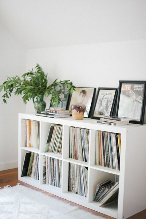 Ikea hack for Kallax shelving as chic record collection storage - found on Hello Lovely Studio