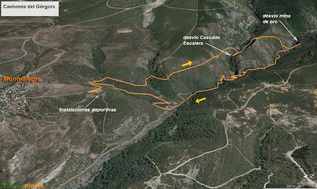 mapa señalizado de la ruta de los Cañones del Górgora