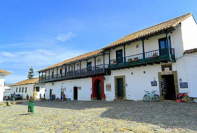 Casarões coloniais em Villa de Leyva, Colômbia