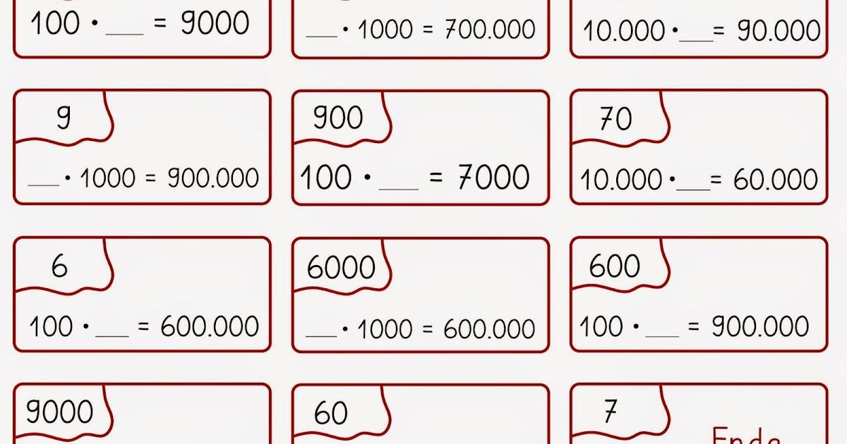 Erfreut Multiplizieren Dezimalstellen Von 10 100 Und 1000 ...