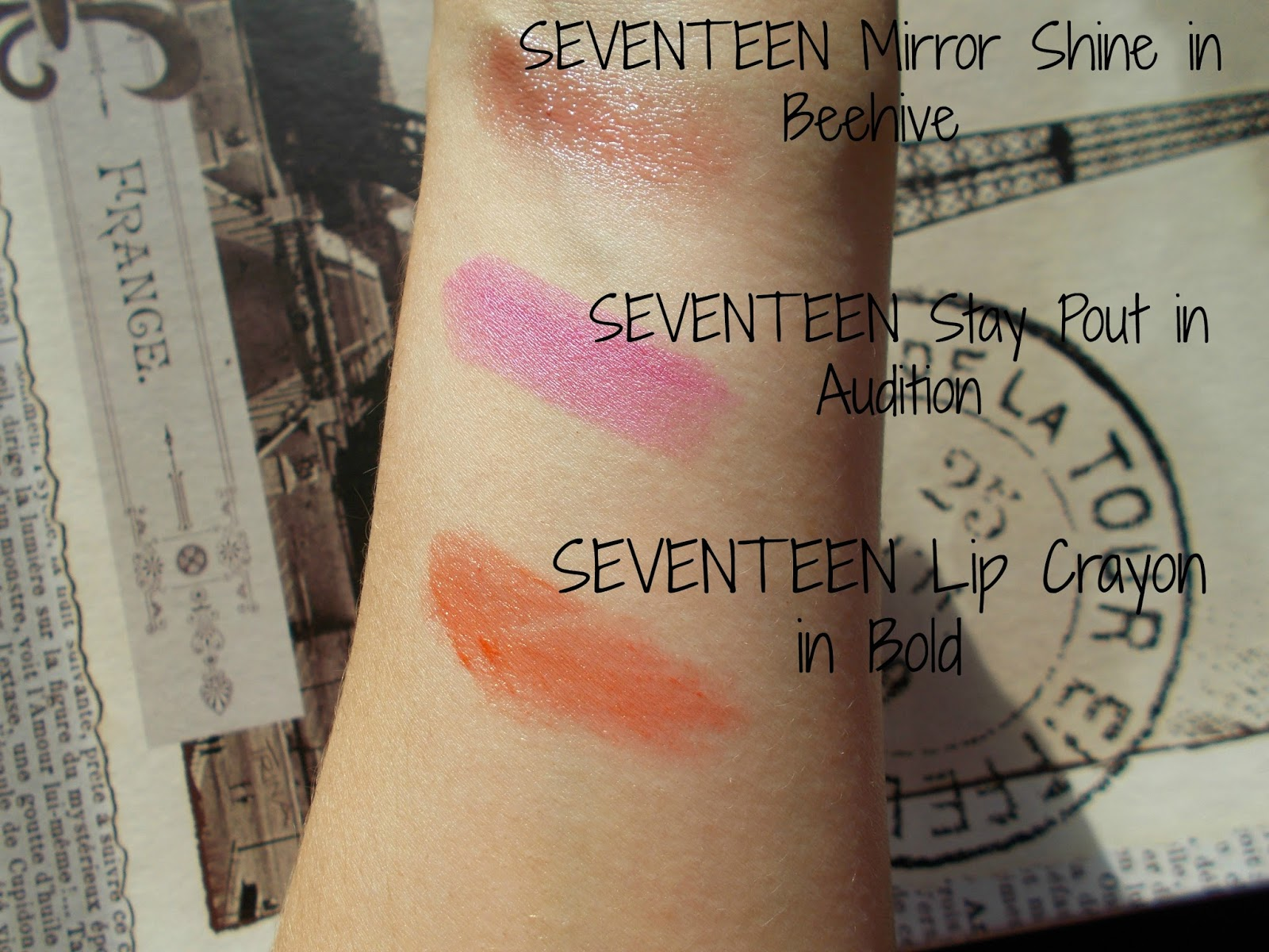 SEVENTEEN lipstick swatches beehive audition bold