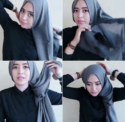 tutorial hijab model katun