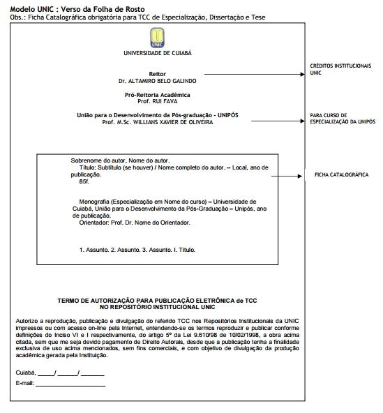 Verso folha de rosto TCC UNIC