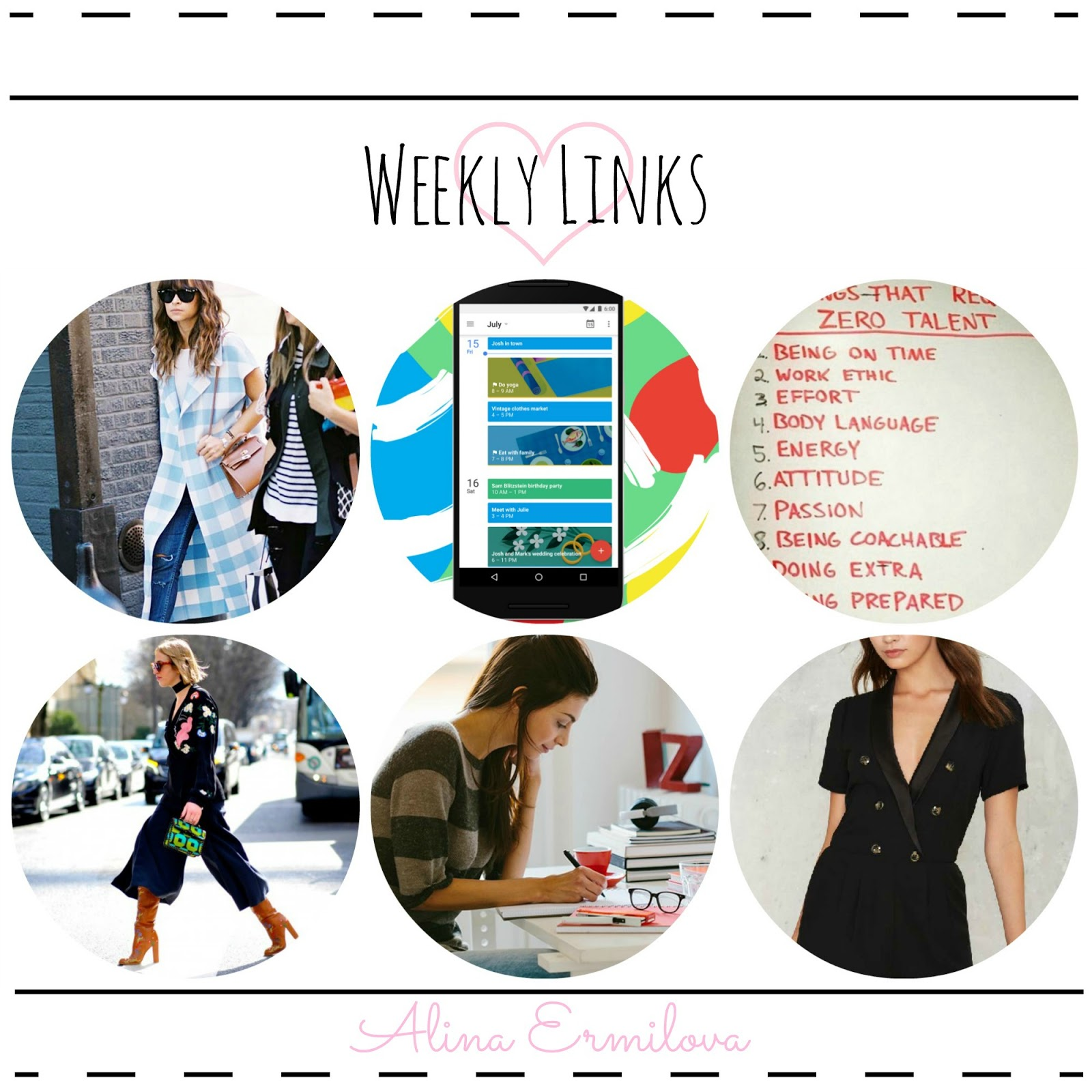 6 Calendar hacks for productivity, Outfit combinations that work every time, Things you only know if you're a fashion blogger, etc.