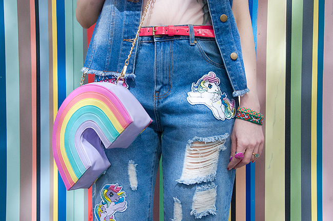 rainbow bag, my little pony trousers, denim look