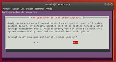 Configuración de unattended-upgrades no