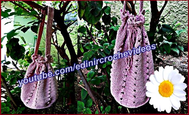 aprender croche canhotas bolsa de croche grande rosa edinircrochevideos youtube cursodecroche facebook