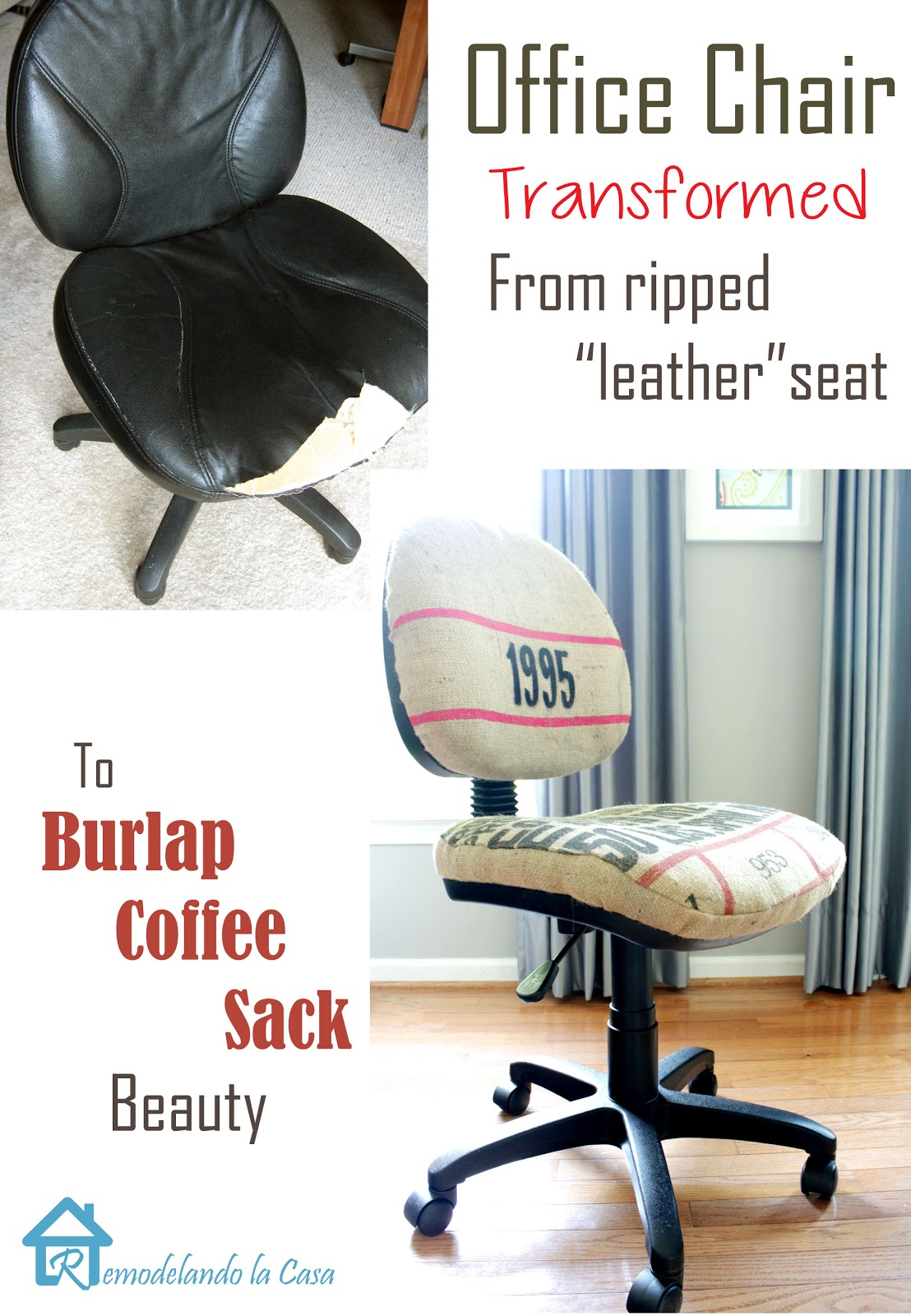how to re-upholster an office chair with a coffee sack