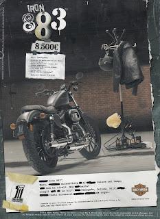 harley davidson sportster 883 iron my 2009 pubblicità