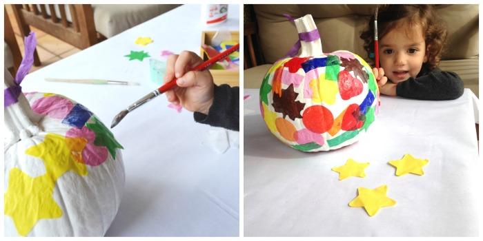 actividades, manualidades niños motricidad fina otoño, decorar calabazas con confeti