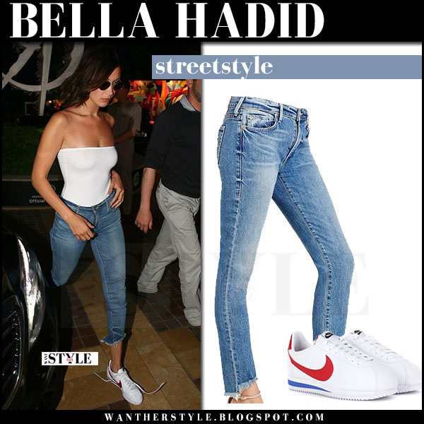 fed6c66a29a Bella Hadid in white tube top and cropped jeans true religion what she wore  may 18