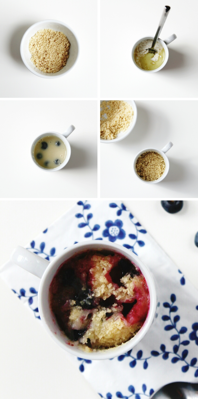How to make Quick And Easy Microwave Blueberry Muffin Mug Cakes
