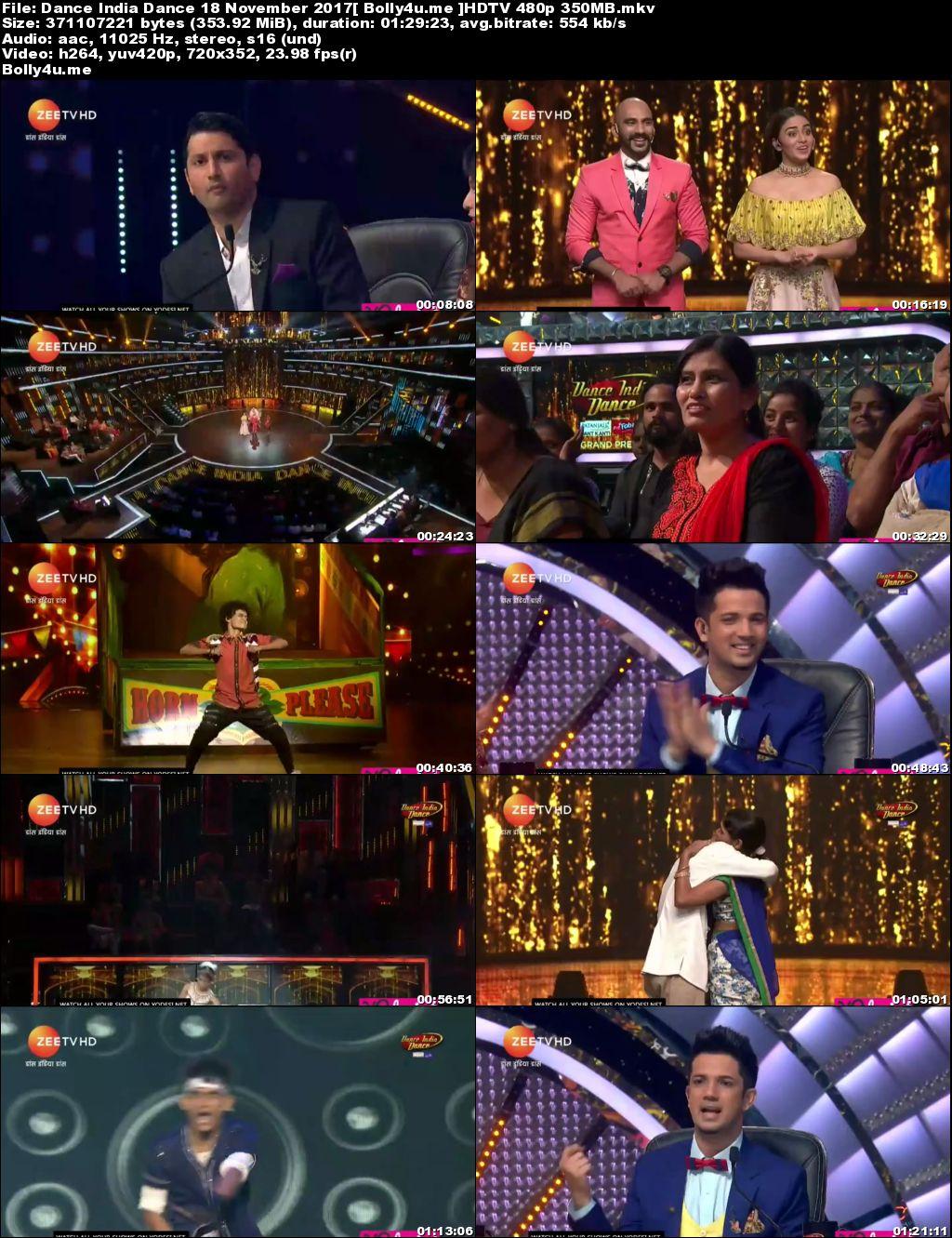 Dance India Dance HDTV 480p 350MB 18 November 2017 Download