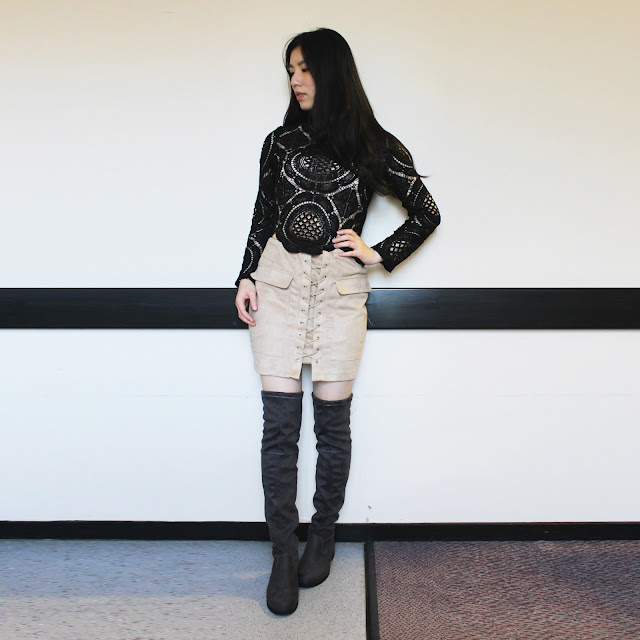 wink gal blog review, wink gal review, wink gal shop, wink gal sweater, wink gal black lace top, black lace top outfit, boots lace top outfit, suede skirt outfit, beige suede lace up skirt outfit