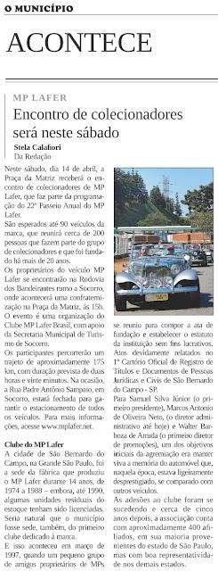 Para informar sobre o histórico do Clube do MP, o jornal socorrense recorreu a um antigo artigo publicado no site mplafer.net