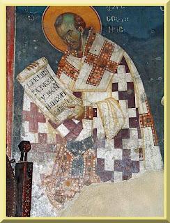 Fresco of St. John Chrysostom, lower register of sanctuary in Church of the Theotokos Peribleptos in Ohrid, Macedonia - PD-1923