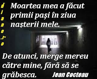 """""""Moartea mea a făcut primii paşi în ziua naşterii mele. De atunci, merge mereu către mine, fără să se grăbesca.""""  Jean Cocteau"""