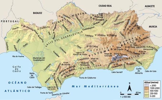 Mapa De Andalucía Físico.Andalucia Mapa Fisico Mapa