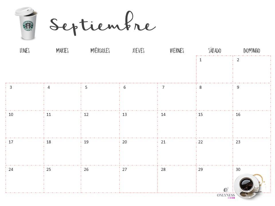 Calendario De Septiembre.Calendario Descargable Septiembre 2018 Onlyness