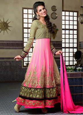 Graceful and beautiful Indian wedding gowns with long sleeve.
