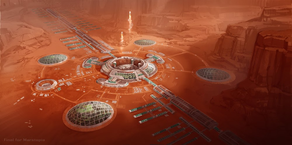 Mars colony with domed gardens and spaceport by Duncan Li