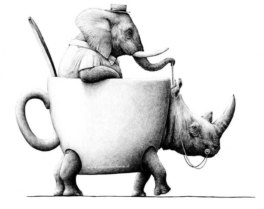 02-Elephant-and-Rhino-Redmer-Hoekstra-Surrealism-www-designstack-co