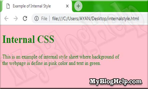 Internal CSS Example