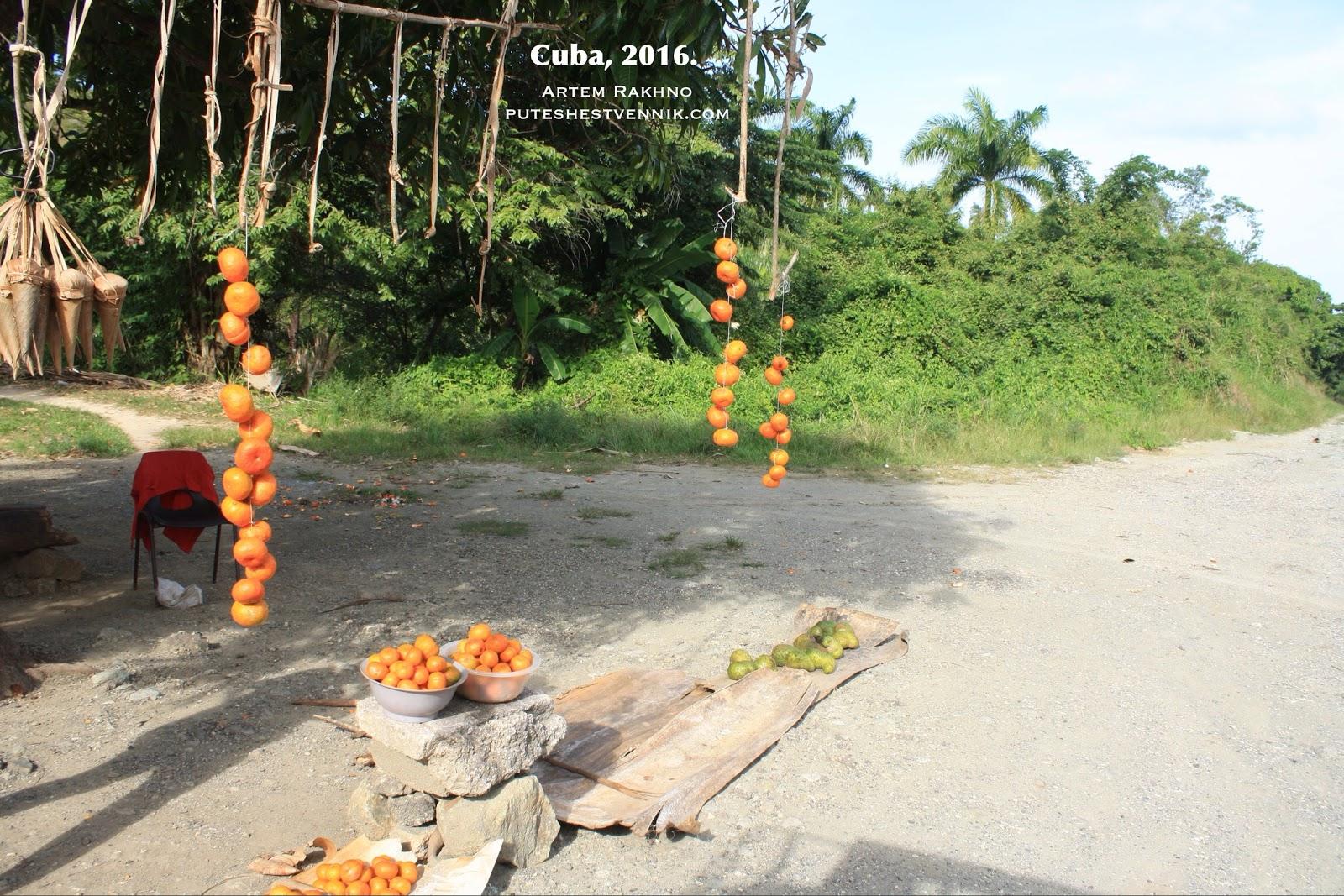 Торговля мандаринами у трассы на Кубе