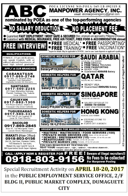Special Recruitment Activity ABC MANPOWER AGENCY INC APRIL 18