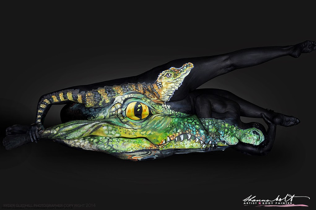 02-Alligator-Shannon-Holt-Florida-Wildlife-Series-Bodypainting-www-designstack-co