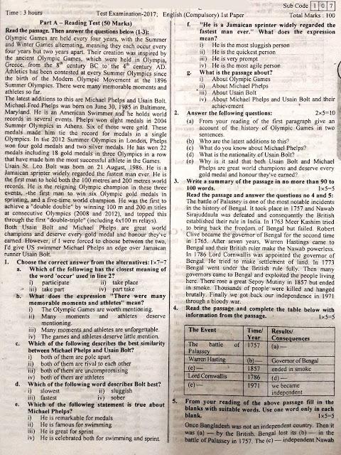 SSC English 1st Paper Model Model Question - 02