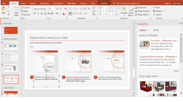 MS office insight feature used