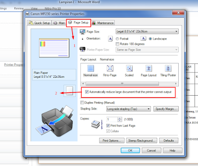 cannon mp 237, hasil print kecil, print error, mengatasi hasil print kecil, ms.word, cara print, mengatasi print error, print