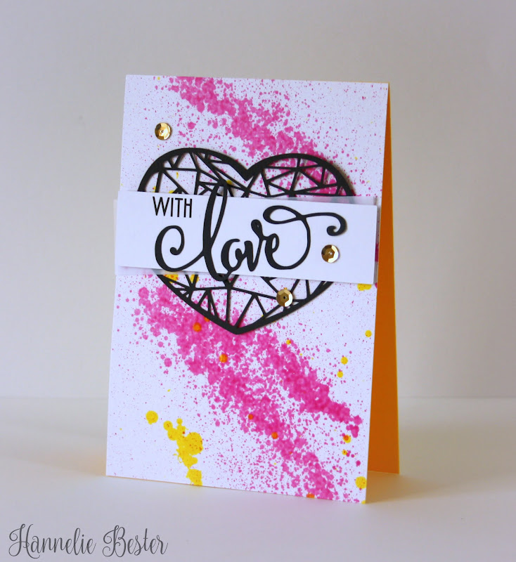 with love splatters and heart card