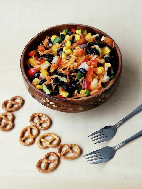 Vegan Black bean Salad, Vegetable & Black beans Salad