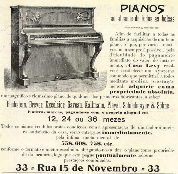 Propaganda antiga de 1916 da Casa Levy apresentando ofertas de pianos
