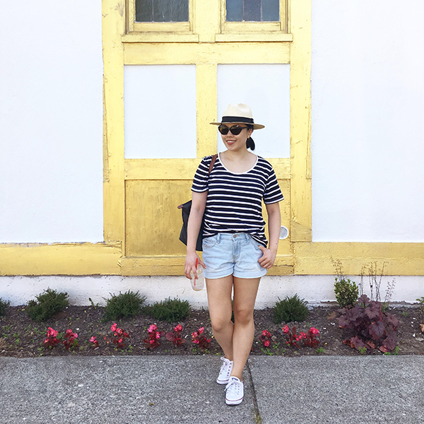 Summer #ootd with Breton stripes, Panama hat, cat-eye tortoiseshell shades, and denim shorts