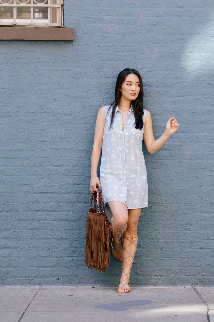 Velvet Heart dress with lace up sandals