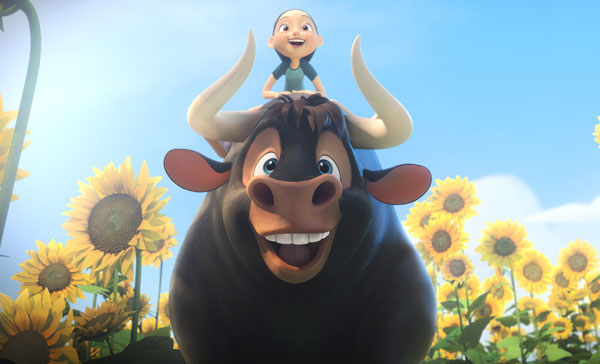 Ferdinand (John Cena) enjoys a happy moment with his best friend, Nina (Katie Silverman) in FERDINAND (2017)