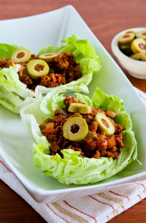 Low-Carb Turkey Picadillo Lettuce Wraps found on KalynsKitchen.com