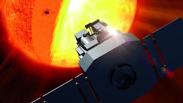Hình ảnh đồ họa Đài Quan sát Mặt Trời và Nhật quyển (SOHO) đang thực hiện quan sát và khảo sát Mặt Trời. Đồ họa: ESA/NASA.