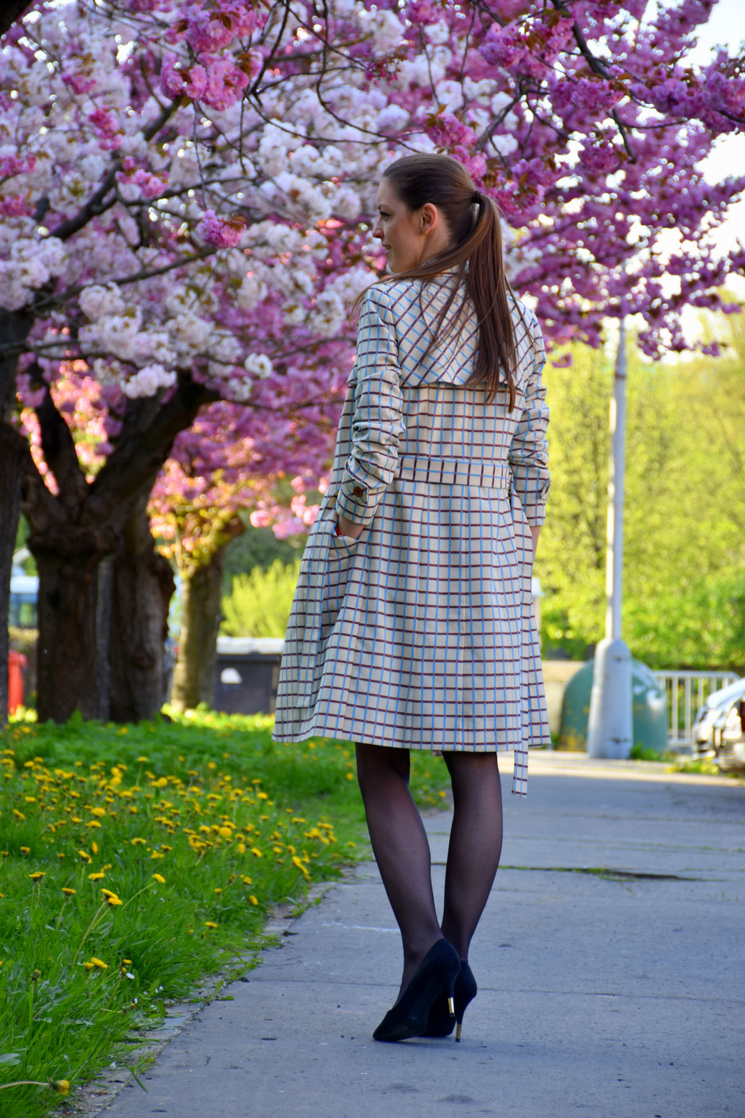 plaid trench coat with red dress