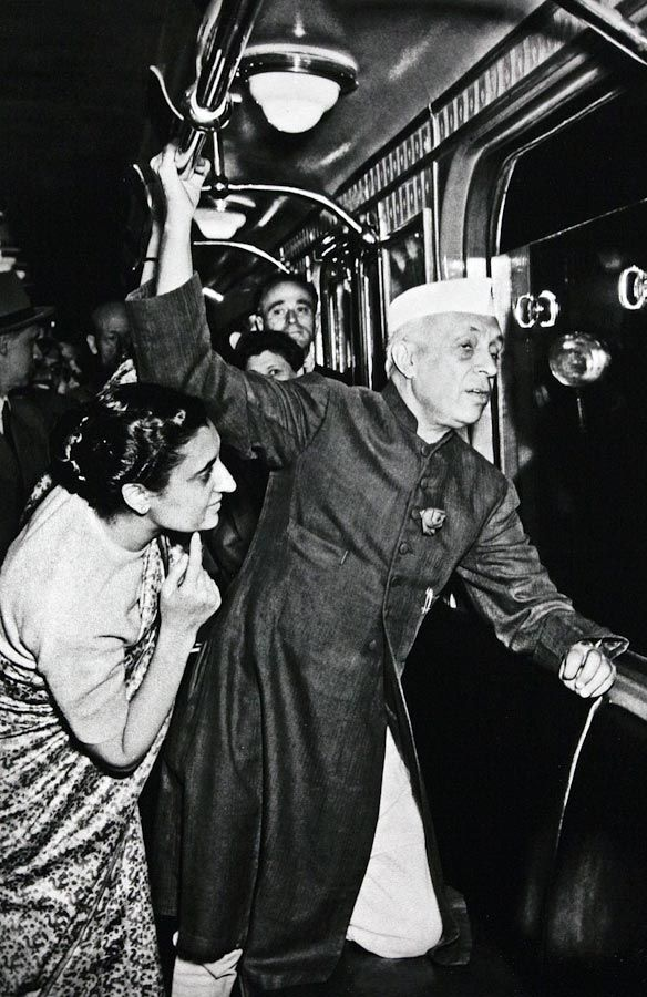 Jawaharlal Nehru and Indira Gandhi on the Moscow Subway - 1955