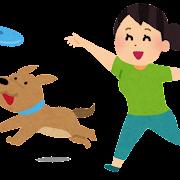犬とフリスビーで遊ぶ人のイラスト