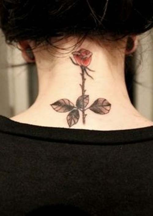 neck rose tattoo ense gül dövmesi