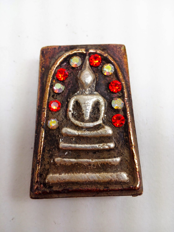 Statue Palm receive Property Fortune Brass Thai Amulet Talisman Yant mascot