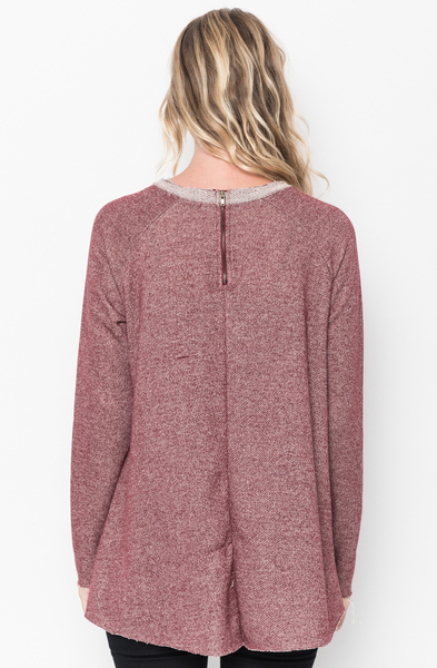 Shop for Burgundy Raw Edge Zipper Tunic Online Final Sale $18 on caralase.com