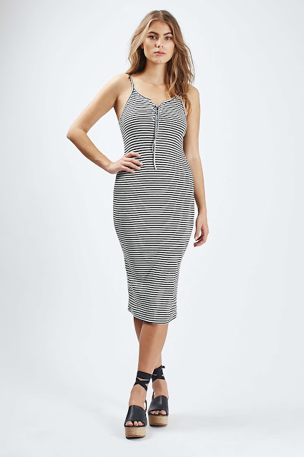 lace up striped dress