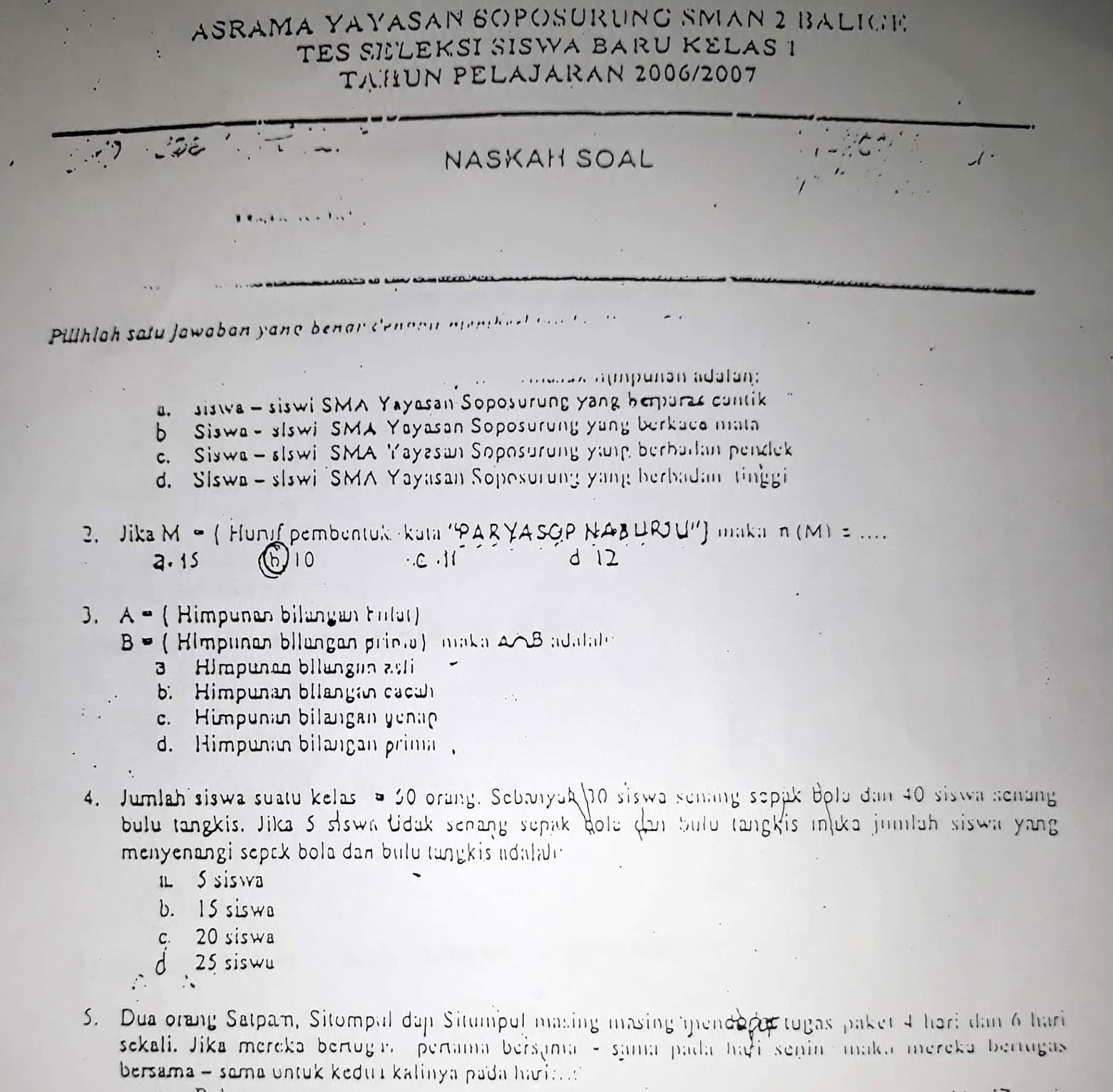 Matematika SMP, Soal Seleksi Akademik Masuk SMAN 2 Balige (Asrama YASOP) 2006