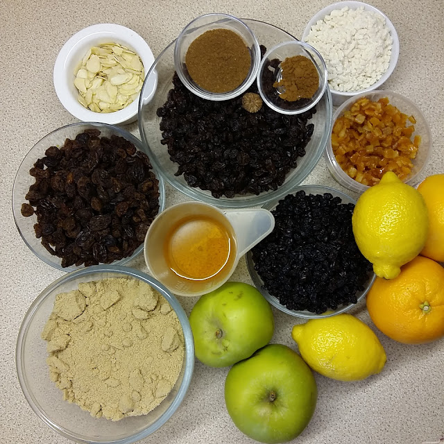 Getting the mincemeat ingredients together